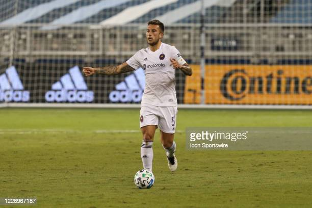 Chicago Fire defender Francisco Calvo looks to pass in the first half of an MLS match between the Chicago Fire and Sporting Kansas City on October 7...