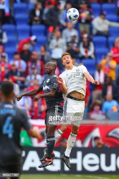 Chicago Fire defender Grant Lillard battles New York Red Bulls forward Bradley WrightPhillips during the second half of the Major League Soccer Game...