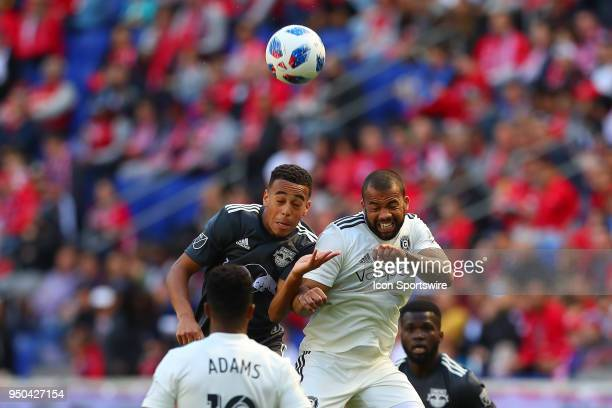 Chicago Fire defender Kevin Ellis battles New York Red Bulls midfielder Tyler Adams during the first half of the Major League Soccer Game between the...