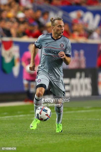 Chicago Fire defender Michael Harrington during the first half of the Major League Soccer game between the New York Red Bulls and Chicago Fire played...