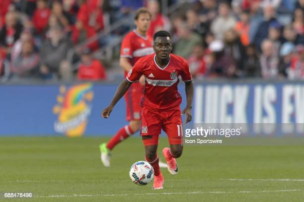 Chicago Fire forward David Accam dribbles the ball in the first half during an MLS soccer match between FC Dallas and the Chicago Fire on May 25 at...