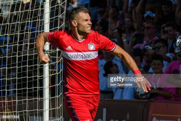 Chicago Fire forward Nemanja Nikolic celebrates a penalty kick goal in the second half during an MLS soccer match between Atlanta United FC and the...