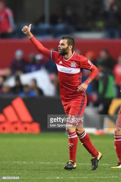 Chicago Fire forward Nemanja Nikolic gives a thumbs up during a game between the Philadelphia Union and the Chicago Fire on October 15 at Toyota Park...