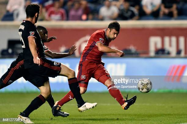 Chicago Fire forward Nemanja Nikolic takes a shot at goal during the match between Dagainst the Chicago Fire United and the Chicago Fire on September...