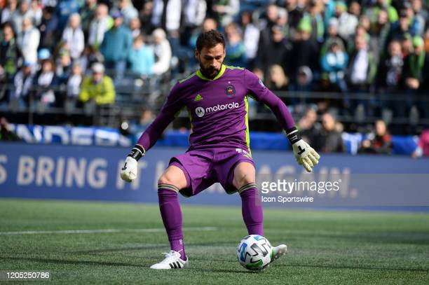Chicago Fire goalie Kenneth Kronhom during a MLS match between the Chicago Fire and the Seattle Sounders at Century Link Field in Seattle WA