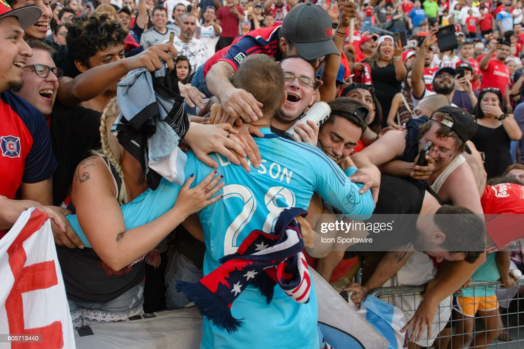 Chicago Fire goalkeeper Matt Lampson (28) celebrates with fans after an MLS soccer match between the Vancouver Whitecaps FC and the Chicago Fire on July 01, 2017, at Toyota Park in Bridgeview, IL. The Chicago Fire won 4-0.