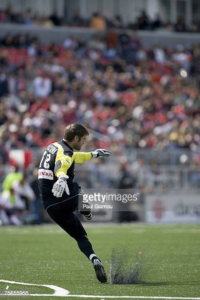 Chicago Fire goalkeeper Matt Pickens clears the ball in the match against the Toronto FC at BMO Field in Toronto Ontario Canada on May 12 2007...