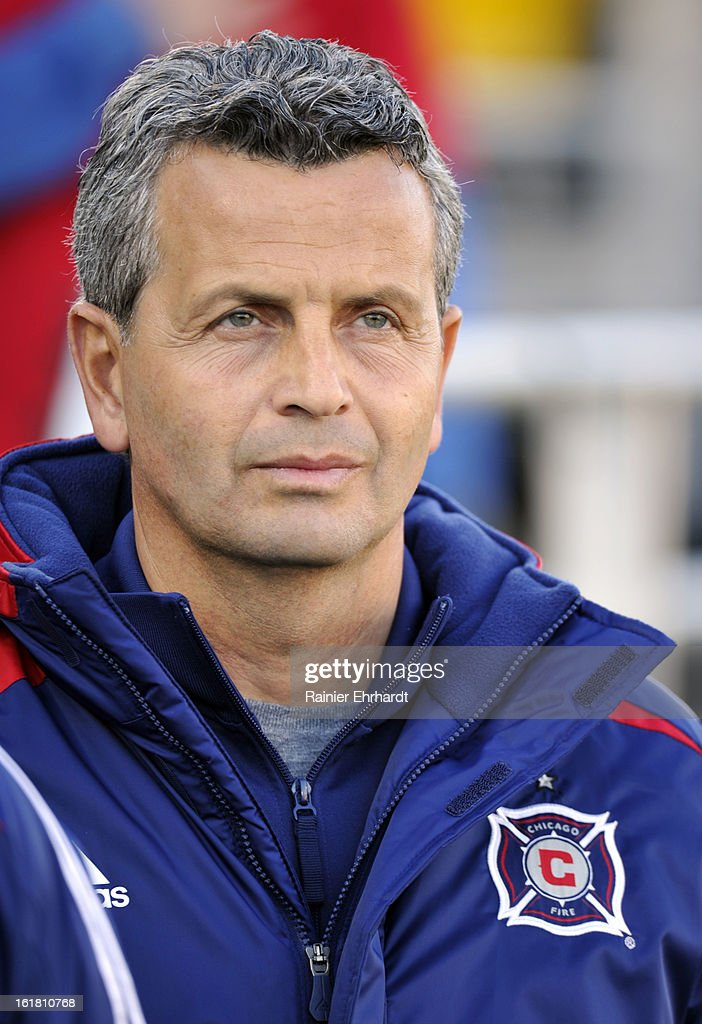 Chicago Fire head coach Frank Klopas looks on during the first half of their game against the Houston Dynamo in the Carolina Challenge Cup at Blackbaud Stadium on February 16, 2013 in Charleston, South Carolina.