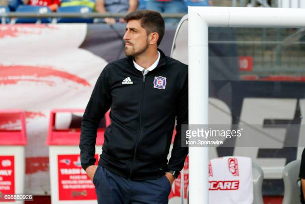 Chicago Fire head coach Veljko Paunovic during a regular season MLS match between the New England Revolution and the Chicago Fire on June 17 at...