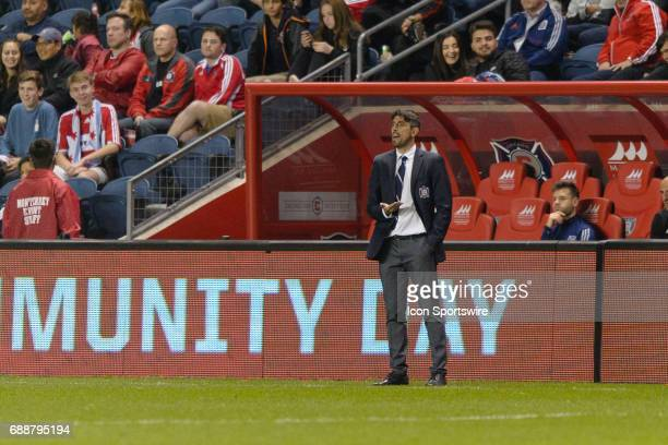 Chicago Fire head coach Veljko Paunovic during an MLS soccer match between FC Dallas and the Chicago Fire on May 25 at Toyota Park in Chicago IL The...