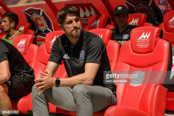 Chicago Fire head coach Veljko Paunovic during an MLS soccer match between Atlanta United FC and the Chicago Fire on June 10 at Toyota Park in...