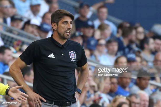Chicago Fire head coach Veljko Paunovic in the first half of an MLS match between the Chicago Fire and Sporting KC on July 29 2017 at Children's...
