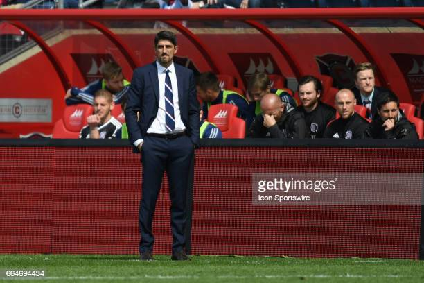 Chicago Fire head coach Veljko Paunovic watches his team during a game between the Montreal Impact and the Chicago Fire at Toyota Park in Bridgeview...