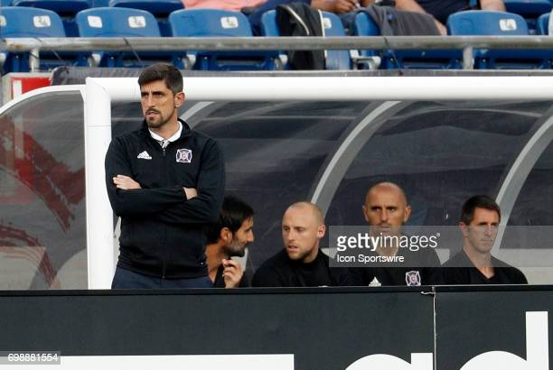 Chicago Fire head coach Veljko Paunovic watches play during a regular season MLS match between the New England Revolution and the Chicago Fire on...