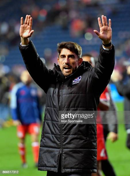Chicago Fire head coach Veljko Paunovic waves to the fans after losing the MLS Cup Playoff match against the New York Red Bulls on October 25 2017 at...