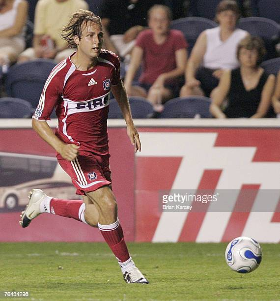 Chicago Fire Justin Mapp in action against the Columbus Crew at Toyota Park in Bridgeview Illinois on Saturday July 29 2006