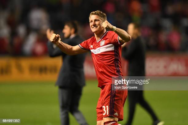 Chicago Fire midfielder Bastian Schweinsteiger celebrates after a game against the Seattle Sounders and the Chicago Fire on May 13 at Toyota Park in...