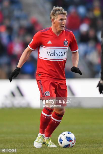 Chicago Fire midfielder Bastian Schweinsteiger controls the ball during a game between Sporting Kansas City and the Chicago Fire on March 10 at...
