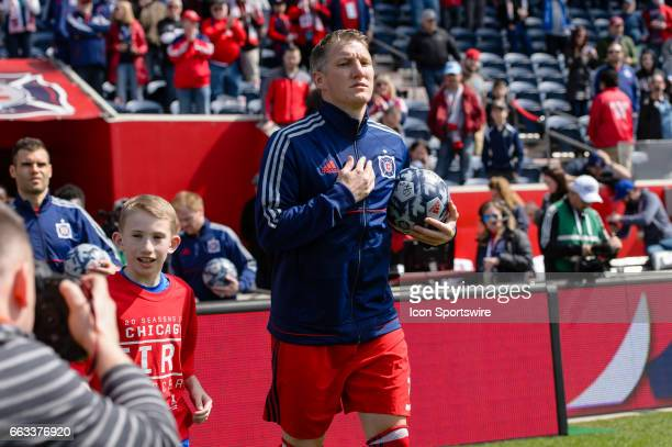 Chicago Fire midfielder Bastian Schweinsteiger enters the field before an MLS soccer match between the Montreal Impact and the Chicago Fire on April...