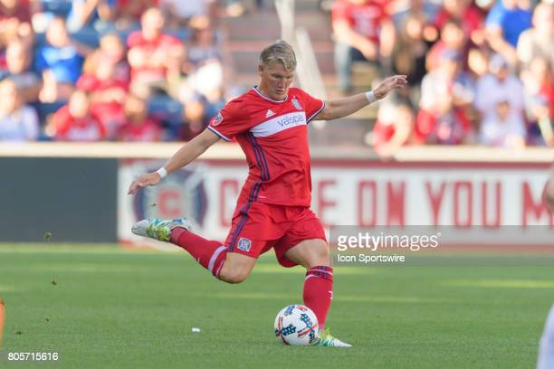 Chicago Fire midfielder Bastian Schweinsteiger kicks the ball in the first half during an MLS soccer match between the Vancouver Whitecaps FC and the...