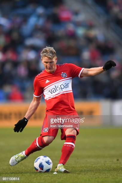 Chicago Fire midfielder Bastian Schweinsteiger passes the ball during a game between Sporting Kansas City and the Chicago Fire on March 10 at Toyota...