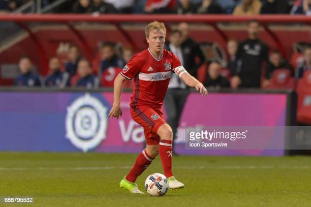 Chicago Fire midfielder Dax McCarty looks to pass in the first half during an MLS soccer match between FC Dallas and the Chicago Fire on May 25 at...