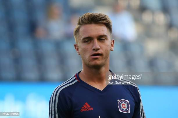 Chicago Fire midfielder Djordje Mihailovic before an MLS match between the Chicago Fire and Sporting KC on July 29 2017 at Children's Mercy Park in...