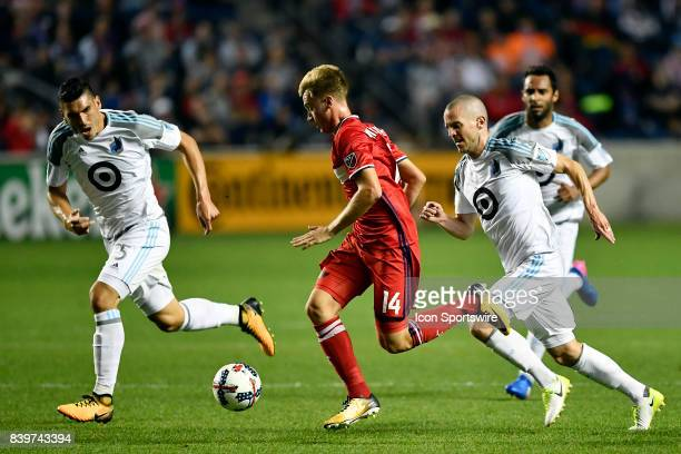 Chicago Fire midfielder Djordje Mihailovic dribbles the ball during the match between the Minnesota United FC and the Chicago Fire on August 26 2017...