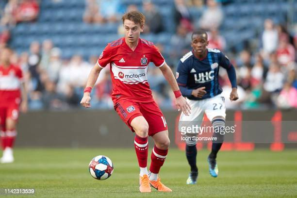 Chicago Fire midfielder Djordje Mihailovic dribbles the ball in action during a game between the Chicago fire and the New England Revolution on May 8...