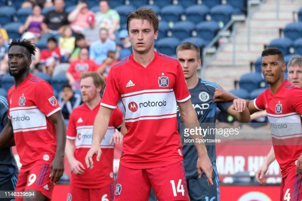 Chicago Fire midfielder Djordje Mihailovic looks on in game action during a MLS match between the Chicago Fire and New York City on May 25 2019 at...