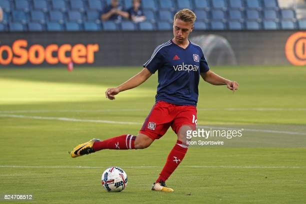Chicago Fire midfielder Djordje Mihailovic warms up before an MLS match between the Chicago Fire and Sporting KC on July 29 2017 at Children's Mercy...