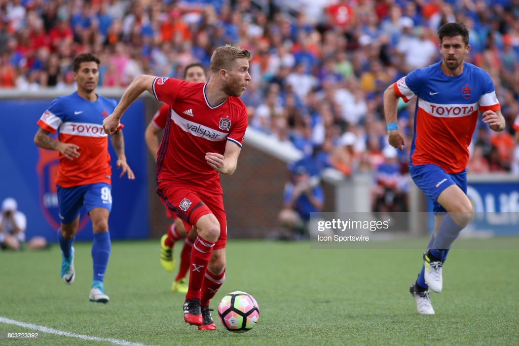 Chicago Fire midfielder Michael de Leeuw (8) controls the ball during the match between the Chicago Fire SC and FC Cincinnati on June 28th 2017, at Nippert Stadium in Cincinnati OH. FC Cincinnati won 3-1 in a penalty kick shootout.