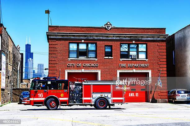 chicago fire truck and  firehouse - fire station stock photos and pictures