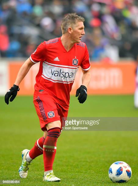 Chicago Fire's Bastian Schweinsteiger looks to pass the ball against the Los Angeles Galaxy on April 14 2018 at Toyota Park in Bridgeview Illinois