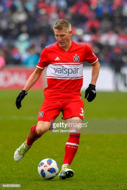 Chicago Fire's Bastian Schweinsteiger passes the ball against the Los Angeles Galaxy on April 14 2018 at Toyota Park in Bridgeview Illinois