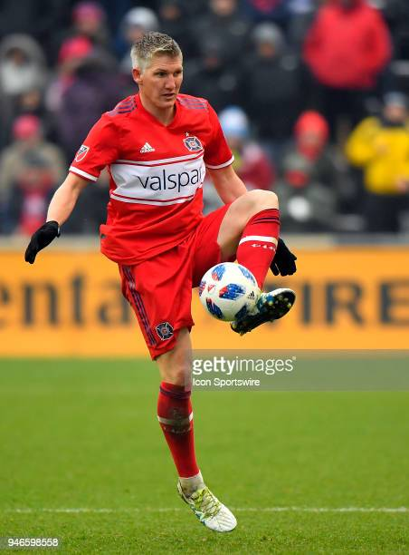 Chicago Fire's Bastian Schweinsteiger traps the ball against the Los Angeles Galaxy on April 14 2018 at Toyota Park in Bridgeview Illinois