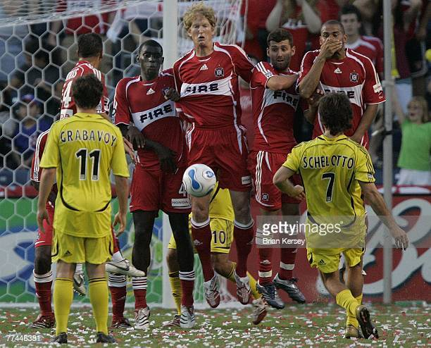 Chicago Fire's Chris Armas back from left Bakary Soumare Jim Curtin Gonzalo Segares and CJ Brown make a wall to stop the free kick of Columbus Crew's...