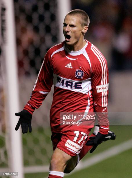 Chicago Fire's Chris Rolfe celebrates his goal against DC United during the first half of game 1 of the Eastern Conference Semifinal series at Toyota...