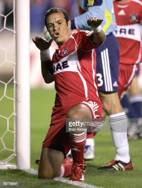 Chicago Fire's Cuauhtemoc Blanco celebrates his goal on a penalty kick during the second half against the New York Red Bulls at Toyota Park on...