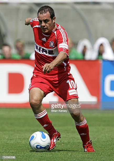 Chicago Fire's Cuauhtemoc Blanco moves the ball up field during the first half of a soccer game against Celtic FC at Toyota Park in Bridgeview Ill on...