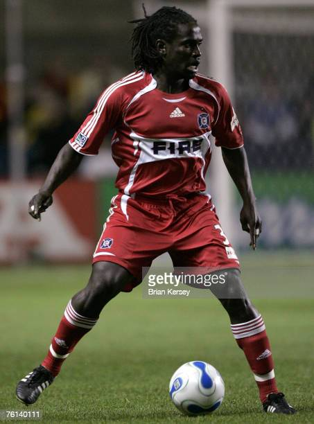 Chicago Fire's Osei Telesford of Trinidad makes his MLS debut during the second half of a soccer game against the Kansas City Wizards at Toyota Park...