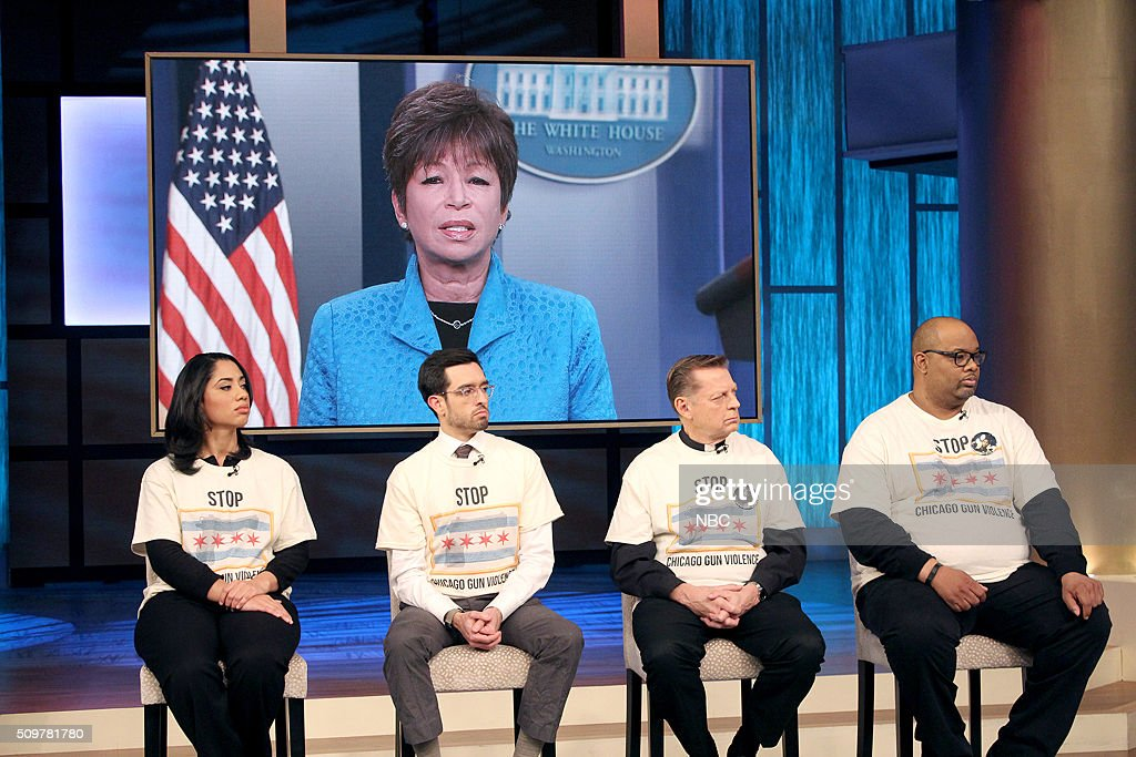 HARVEY -- Chicago Gun Violence -- Pictured: (l-r) Senior Advisor to President Obama, and Chicago native, Valerie Jarrett is interviewed via satellite from the White House, as Elizabeth Dozier (former principal at Fenger High School in the Roseland neighborhood), Brandon Smith (independent journalist who successfully sued the city and cracked the Laquan McDonald case), Father Michael Pfleger (Senior Pastor at Saint Sabina Church), and Pastor Corey Brooks (head of the ?New Beginnings Church? on Chicago?s Southside) listen in --