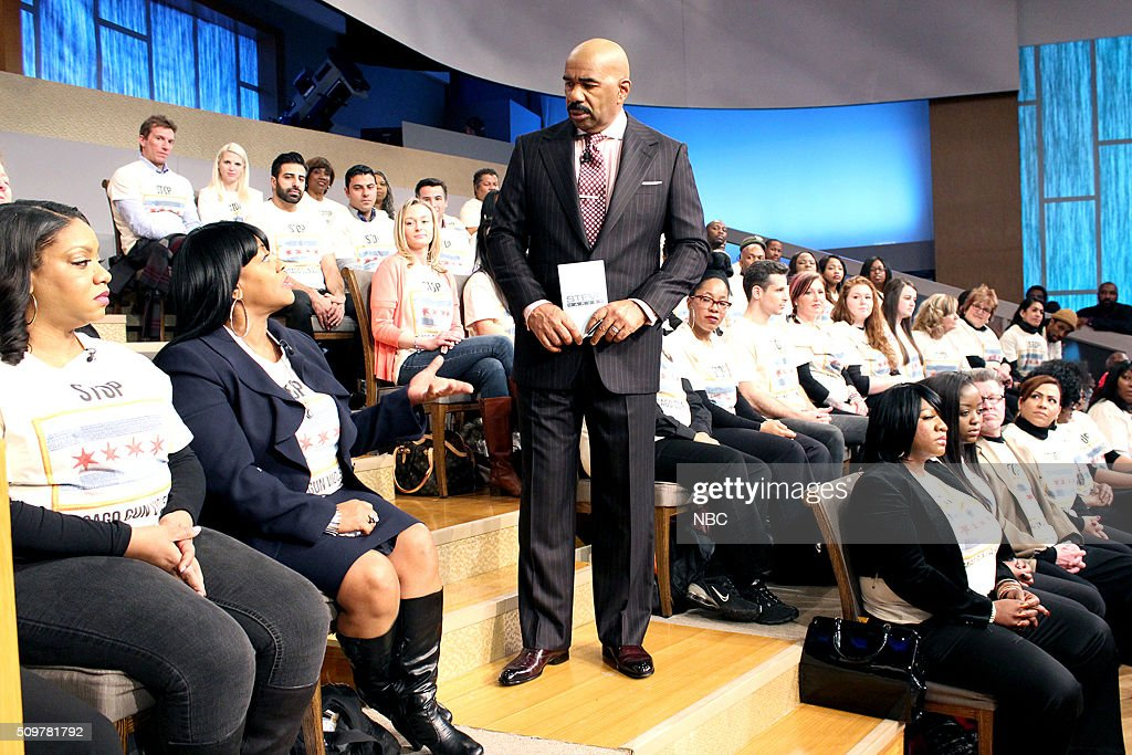 HARVEY -- Chicago Gun Violence -- Pictured: Steve Harvey, surrounded by a studio audience of people who have been directly affected by gun violence in Chicago --