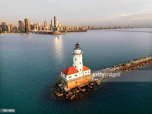 chicago harbor lighthouse - cook county illinois stock photos and pictures