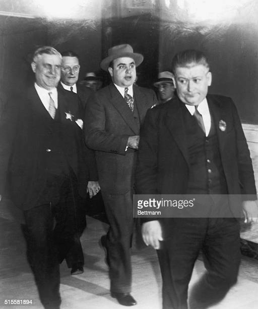 Al Capone Chicago gang leader being led from Chicago Federal Court after receiving sentence for income tax evasion