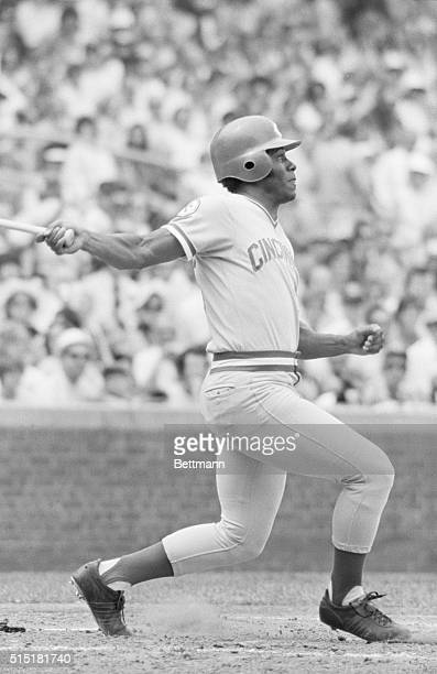 8/12/1976 Chicago IL Cincinnati Reds Ken Griffey hitting a single in the CubsReds game Photograph by Bruno Torres