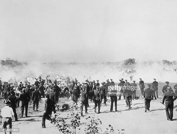 Chicago IL- Graphically pictured here is the line of battle during the riot that took place near the South Chicago Plant of the Republic Steel...