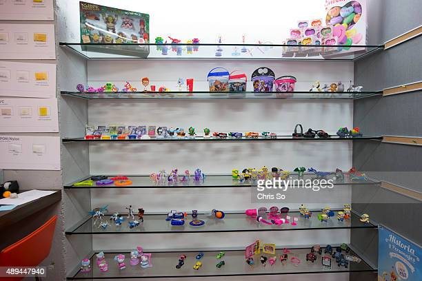 Chicago IL JULY 20 2015 Some of the past promotions of Happy Meal toys are on display at the Marketing Store in downtown Chicago The Marketing Store...