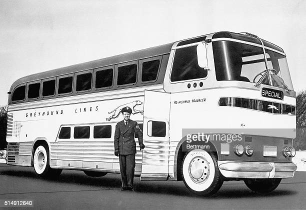 3/1948 Chicago IL The new Greyhound Highway Travele which seats fifty passengers through use of seats in three sectional compartments is now...
