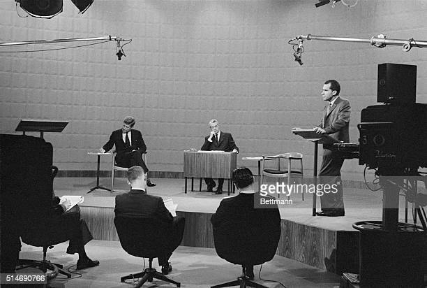 Chicago, IL: Vice President Richard Nixon speaks during the Great Debate here 9/26, as his opponent for presidency Senator John F. Kennedy takes...